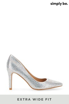 Simply Be Extra Wide Fit Glitzy Court Shoe