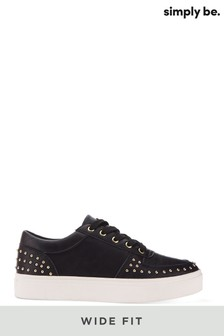 Simply Be Wide Fit Studded Lace Up Trainer