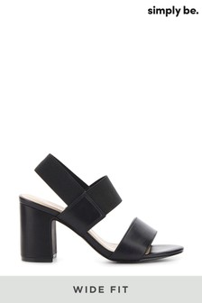 Simply Be Wide Fit Elastic Y Bar Elastic Block Heel Sandal