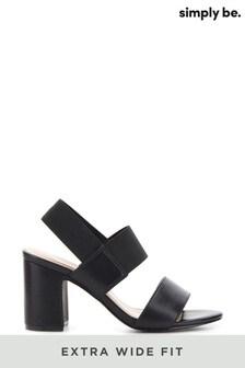 Simply Be Extra Wide Fit Elastic Y Bar Block Heel Sandal