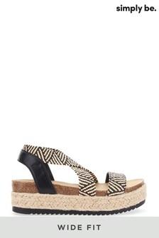 Simply Be Wide Fit Elastic Strap Upper Flatform Sandals