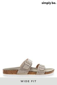 Simply Be Wide Fit Diamanté Buckle Sandals