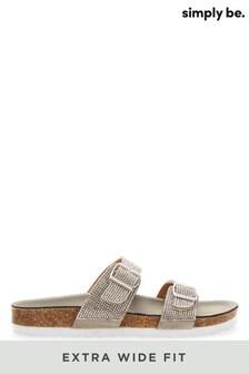 Simply Be Extra Wide Fit Diamanté Buckle Sandals
