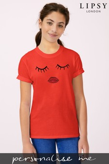 Personalised Lipsy Eyes Closed Girls T-Shirt by Instajunction