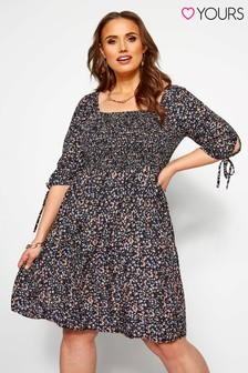 Yours Curve Shirred Sleeves Ditsy Dress