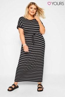 Yours Curve Stripe Maxi T-Shirt Dress