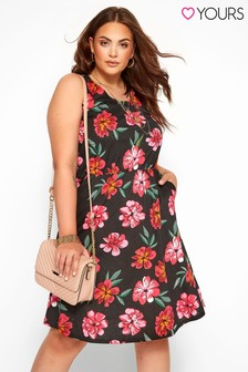 Yours Curve Tropical Bow Back Dress
