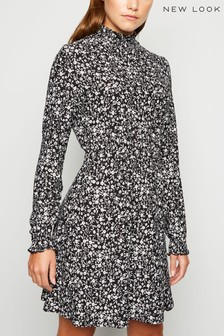 New Look Floral Shirred High Neck Dress