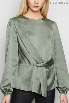New Look Satin Twist Front Peplum Blouse