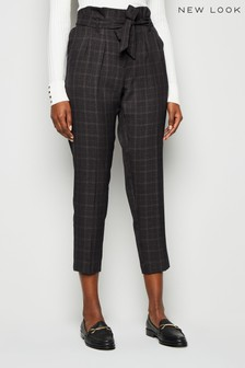 New Look Check Tie High Waist Trousers