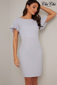 Chi Chi London Bodycon Flutter Sleeve Dress