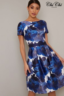 Chi Chi London Box Pleat Printed Midi Dress