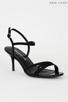 New Look Suedette Multi Cross Strap Stiletto Heels