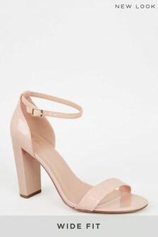 New Look Wide Fit Suedette 2 Part Block Heels