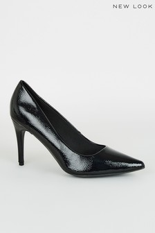 New Look Crinkle Patent Pointed Courts