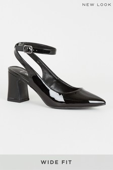 New Look Wide Fit Patent Flared Heel Courts
