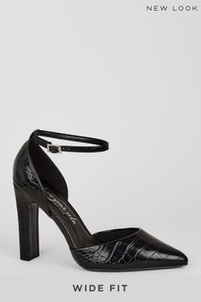 New Look Wide Fit Patent Faux Croc Court Shoes