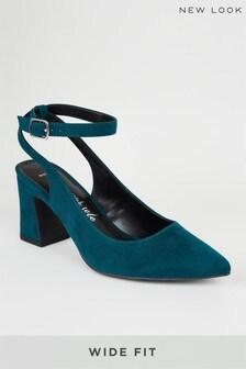 New Look Wide Fit Suedette Flared Block Heels