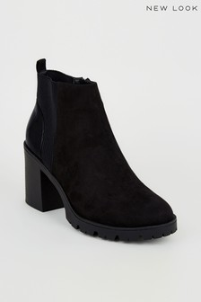 New Look Faux Croc Panel Chunky Chelsea Boots