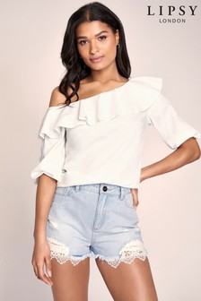 Lipsy Lace Trim Denim Short