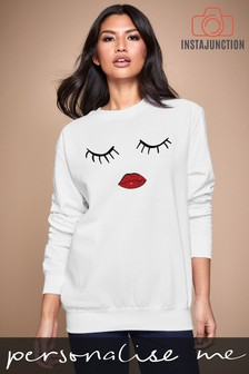 Personalised Lipsy Eyes Closed Womens Sweatshirt by Instajunction