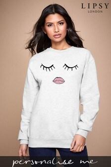Personalised Lipsy Eyes Closed Womens Sweatshirt by Instajunction