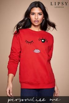 Personalised Lipsy Eyes Wink Womens Sweatshirt by Instajunction