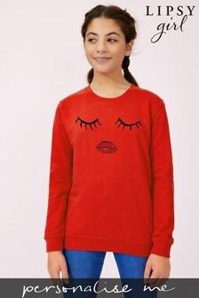Personalised Lipsy Eyes Closed Girls Sweatshirt by Instajunction