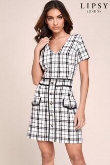 Lipsy Boucle Button Detail Dress