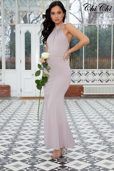 Chi Chi London Stretch Halter Neck Maxi Dress