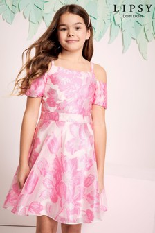 Lipsy Girl Puff Sleeve Organza Dress