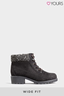 Yours Extra Wide Fit Hiker Lace Up Ankle Boots