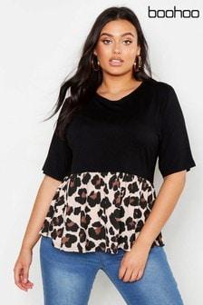 חולצת סרבל מנומרת בצבעים מנוגדים במידות גדולות של Boohoo