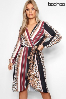 Boohoo Curve Chain Mixed Print Wrap Midi Dress