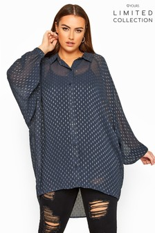 Yours Limited Collection Curve Metallic Oversized Chiffon Shirt