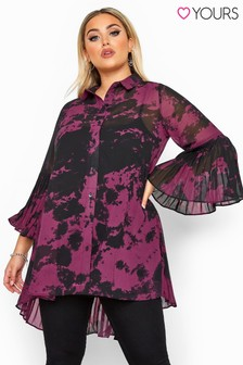 Yours Curve Tie Dye Pleated Longline Shirt