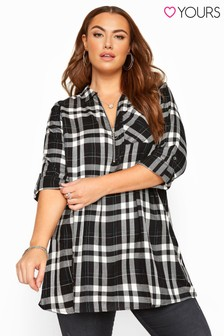 Yours Curve Metallic Zip Neck Check Shirt