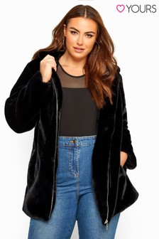 Yours Curve Faux Fur Hooded Coat