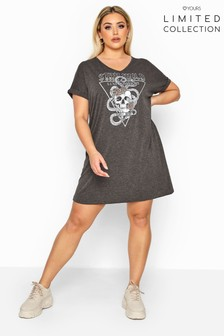 Yours Limited Collection Curve Foil Skull 'Stay Wild' T-Shirt Dress