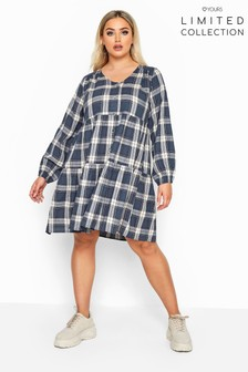 Yours Limited Collection Curve Check Tiered Smock Dress