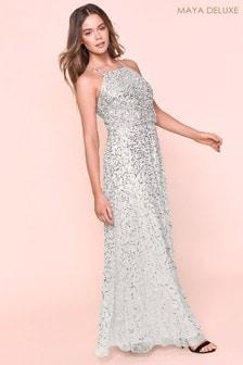 Maya All Over Sequin Haltneck Maxi Dress