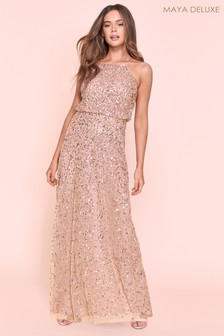 Maya All Over Sequin Haltneck Maxi Dress