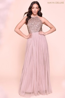 Maya Halterneck Delicate Sequin Maxi Dress