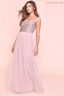 Maya Sweetheart Neckline Sequin Detail Top Maxi Dress