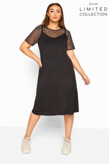 Yours Limited Collection Curve 2 In 1 Polka Dot Mesh Top Midi Dress