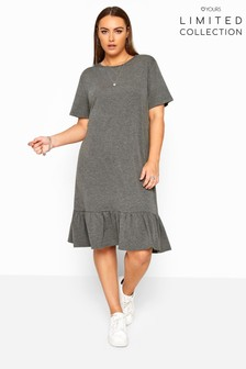 Yours Limited Collection Curve Marl Frill Hem Dress