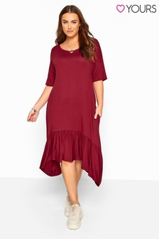 Yours Curve Frill Hanky Hem Dress