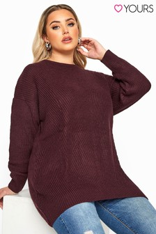 Yours Curve Damson Chunky Knitted Jumper