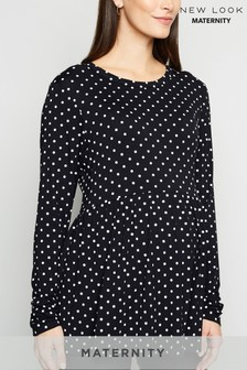 New Look Maternity Long Sleeve Peplum Spot Top