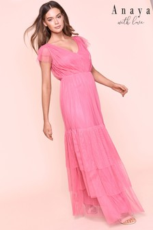 Anaya V neck Ruffle Sleeve Tiered Maxi Dress